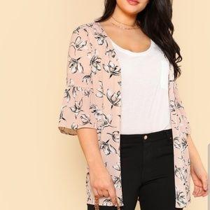 Shein plus 1X kimono jacket, pink, white & black.